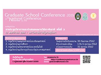 บัณฑิตวิทยาลัยเปิดรับบทความการประชุมวิชาการและนำเสนอผลงานวิจัยระดับชาติ ครั้งที่ 3